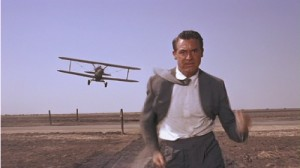 Cary Grant chased by a plane in North by Northwest