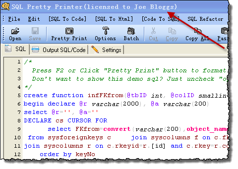 SQL Pretty Printer software screenshot