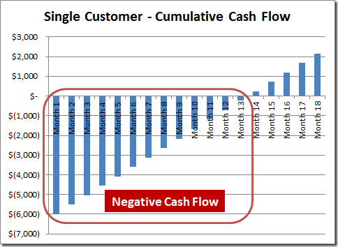 Skok: Single Customer Cumulative Cash Flow