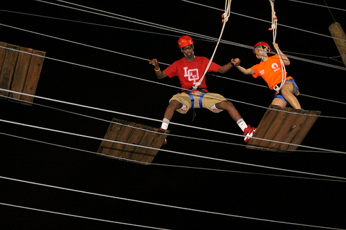 Participants in a ropes course trust their leader. The leader shares their values (safety, fun), shows practical wisdom (knows what to do in any situation), and is selfless (puts the needs of the participants ahead of his own).