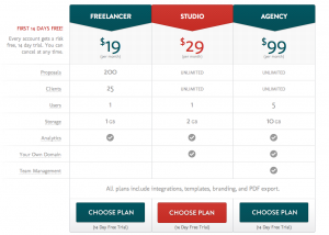 Bidsketch - new pricing page